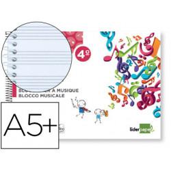 Bloc musica liderpapel pentagrama 3mm cuarto 20 hojas 100g/m2