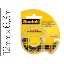 Cinta adhesiva scotch 136d dos caras 63 mt x 12 mm en portarrollo