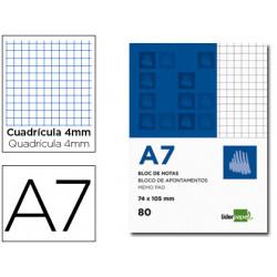 Bloc notas liderpapel cuadro 4mm a7 80 hojas 60g/m2 perforado