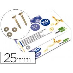 Encuadernadores liderpapel 25 mm con arandela latonados caja de 100