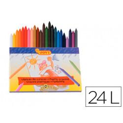 Lapices cera jovi hexagonal caja de 24 colores