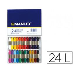 Lapices cera manley caja de 24 colores ref124