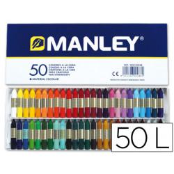 Lapices cera manley caja de 50 colores ref150