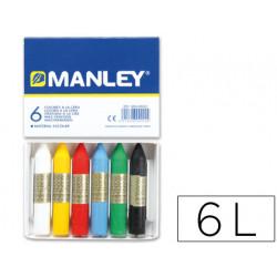 Lapices cera manley caja de 6 colores ref106
