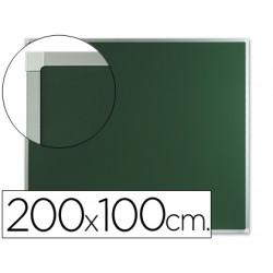 Pizarra verde mural qconnect 200x100 cm sin repisa con marco de aluminio