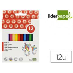Lapices cera liderpapel caja de 12 colores