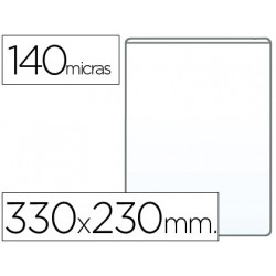 Funda portadocumento qconnect folio 140 micras pvc transparente 230x330mm