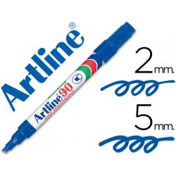 Rotulador artline marcador permanente ek90 azul punta biselada 5 mm pape