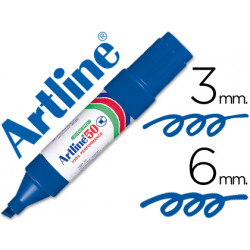 Rotulador artline marcador permanente ek50 azul punta biselada 6 mm pape
