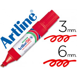 Rotulador artline marcador permanente ek50 rojo punta biselada 6 mm pape