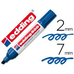 Rotulador edding marcador permanente 500 azul punta biselada 7 mm recargab
