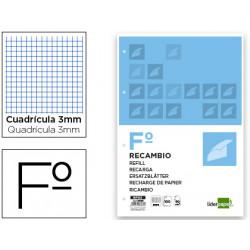 Recambio liderpapel folio 100 h 4tf06 cuadro 3 mm 4 taladros con margen