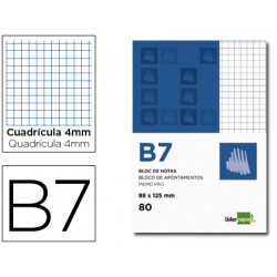 Bloc notas liderpapel cuadro 4mm b7 80 hojas 60g/m2 perforado