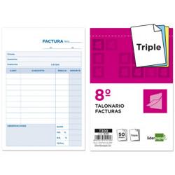 Talonario liderpapel facturas 8º original y 2 copias t300 con iva