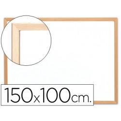 Pizarra blanca qconnect laminada marco de madera 150x100 cm