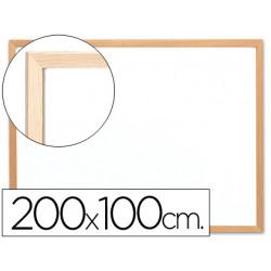 Pizarra blanca qconnect laminada marco de madera 200x100 cm