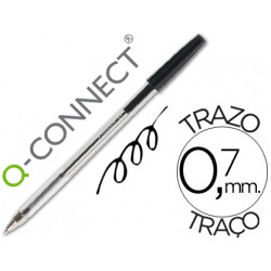 Boligrafo transparente qconnect negro medio kf26040
