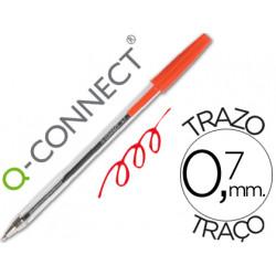 Boligrafo transparente qconnect rojo medio kf26041