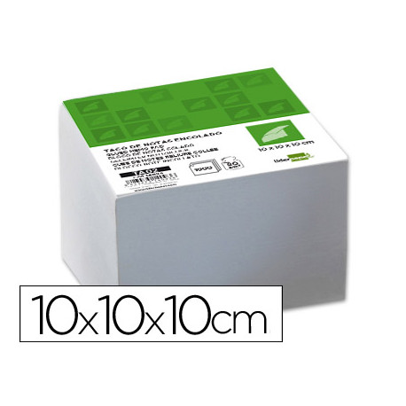 Taco liderpapel encolado 100 x 100 x 100mm blanco