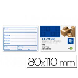 Etiquetas de envio liderpapel 80x110mm adhesiva paquete de 100