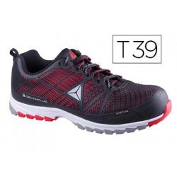 Zapatos de seguridad deltaplus de poliuretano y malla aireada s1p negro y r