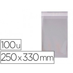 Bolsa polipropileno apli 250x330 mm transparente cierre adhesivo paquete de
