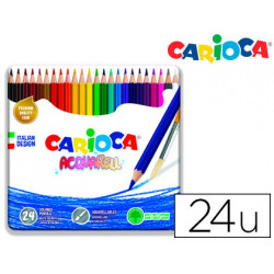 Lapices de colores carioca acuarelable caja metalica de 24 colores surtidos