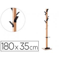 Perchero madera paperflow haya 8 colgadores con paraguero negro altura 180