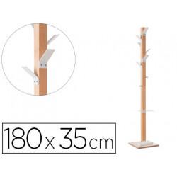 Perchero madera paperflow haya 8 colgadores con paraguero blanco altura 180