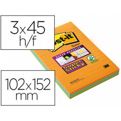 Bloc de notas adhesivas quita y pon postit super sticky neon rayado 102x15