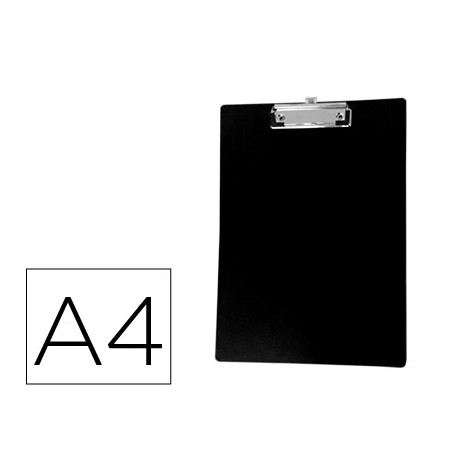 Portanotas qconnect plastico con clip din a4 negro grosor 15 mm