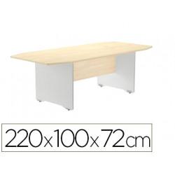 Mesa de reunion rocada meeting 3003ab04 estructura madera gris aluminio tab