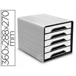Fichero cajones de sobremesa cep 5 cajones blanco/negro 360x288x270 mm