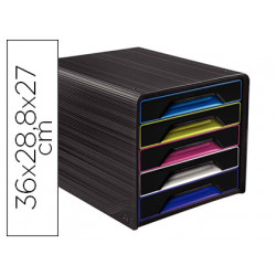 Fichero cajones de sobremesa cep 5 cajones negro/multicolor 360x288x270 mm