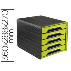 Fichero cajones de sobremesa cep 5 cajones verde/negro 360x288x270 mm