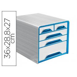 Fichero cajones de sobremesa cep 5 cajones mixtos blanco/azul 360x288x270 m