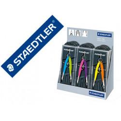 Compas staedtler micrometrico 556 con husillo y rueda central color neon ex