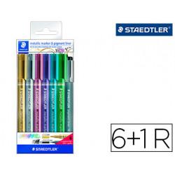 Rotulador staedtler metalico 8323 blister de 6 unidades colores surtidos +