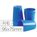 Vaso de abs azul con borde grueso redondeado apto microondas y lavavajillas