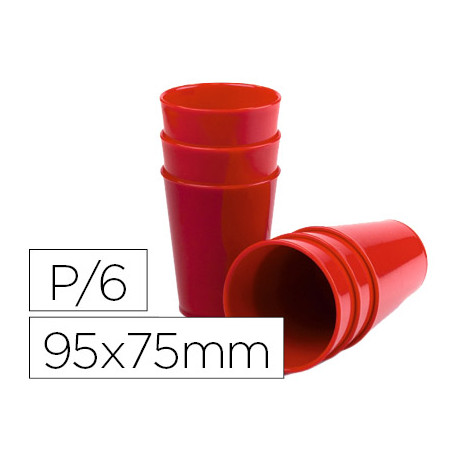 Vaso de abs rojo con borde grueso redondeado apto microondas y lavavajillas