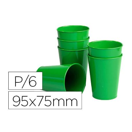 Vaso de abs verde con borde grueso redondeado apto microondas y lavavajilla