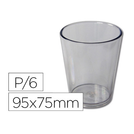 Vaso de abs transparente con borde grueso redondeado apto microondas y lava