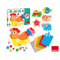 Juego goula didactico animal stickers foam