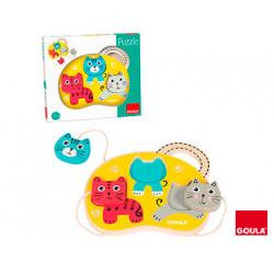 Juego goula didactico puzzle 3 gatos