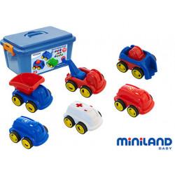 Juego didactico miniland con 10 vehiculos profesionales flexibles para trab