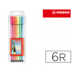 Rotulador stabilo acuarelable pen 68 metalico 1 mm estuche de 6 unidades co