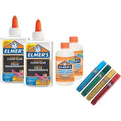 Kit elmers fabricacion slime con 2 botes cola transparente + 2 botes liquid