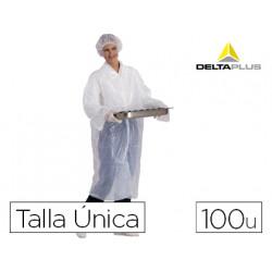 Bata delta plus polietileno sencilla talla unica caja de 100 unidades