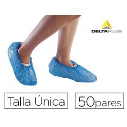 Cubre calzado delta plus polietileno azul talla unica caja de 50 pares