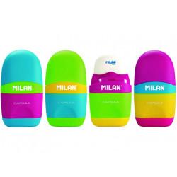 Sacapuntas milan plastico 1 uso con goma capsule mix